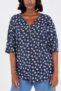DAISY PRINT BLUE ZIP FRONT TOP NEW SIZES 18-28